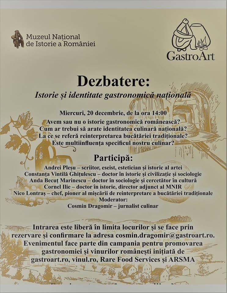 """Dezbaterea """"Istorie și identitate gastronomică națională"""""""