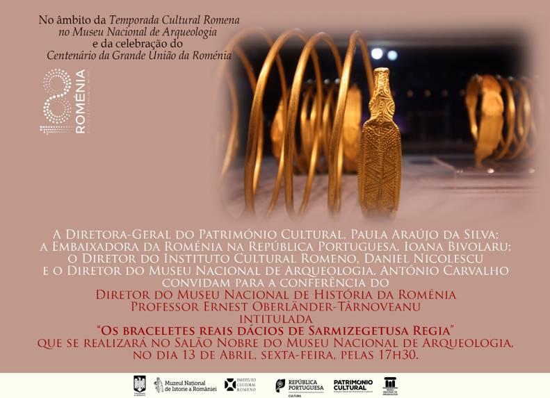 """Conferința științifică """"Brățările regale dacice de aur de la Sarmizegetusa Regia"""", susținută la Lisabona, Republica Portugheză, de către dr. Ernest Oberländer-Târnoveanu, directorul general al Muzeului Naţional de Istorie a României"""